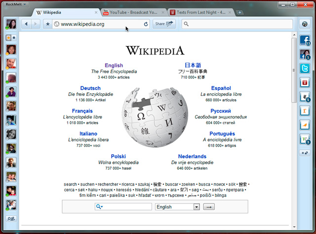 wikipedia logo on rockmelt browser the facebook browser invite download Just Got beta invite for RockMelt ! Heres my Review :
