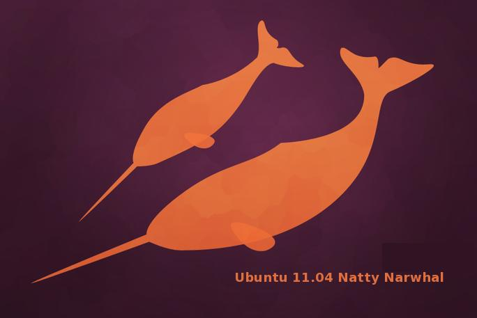 ubutnu 11.04 natty narwhal fish logo background thumb wallpaper Natty Narwhal 11.04   Most Awesome Ubuntu ever