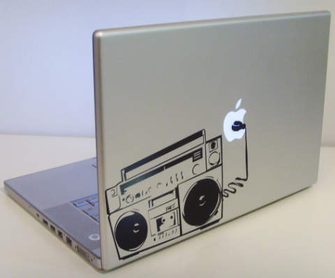 creative radio macbook sticker music loud Creative Funny Macbook Stickers