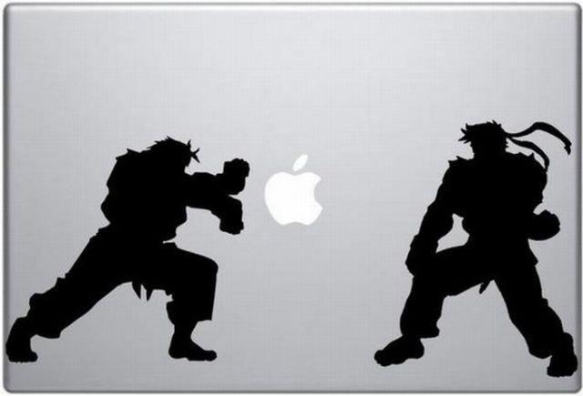 ninja street fighter apple logo power sticker macbook Creative Funny Macbook Stickers