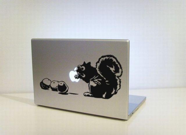 squirrel feeding on apple macbook stickers laptop funny Creative Funny Macbook Stickers