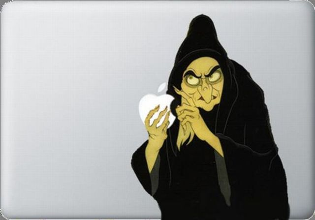 witch bitch in black magical robes curses apple symbol sticker macbook Creative Funny Macbook Stickers