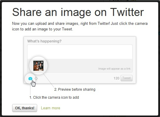 share an image on twitter upload web image will appear as link Now Upload Images on Twitter , thanks to PhotoBucket