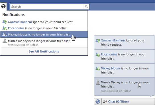 notifications How do you know when someone unfriended you on facebook?