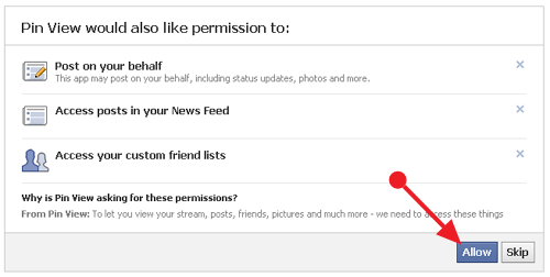 allow or slip permission giving to pin view facebook app Convert your Facebook into a Pinterest Timeline