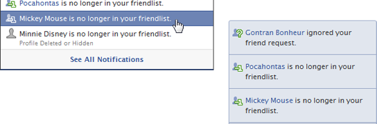 How do you know when someone unfriended you on facebook?